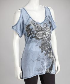 Take a look at this Blue Paisley Cutout Top - Women by Urban X on #zulily today! $22.99, regular 30.00
