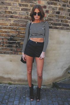 Oval Sunnies, Striped Crop Top, Black High Waisted Shorts and Black Gladiators