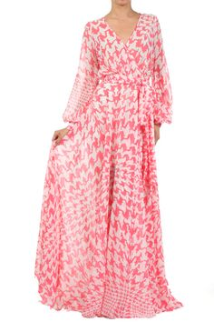Pink Sheer Loose Fit V-neck Dress With Waist Tie Detail