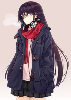 Anime Girl w/ Headphones, Scarf, Coat & Uniform.  ---  I am SO gonna go for a look like this :3