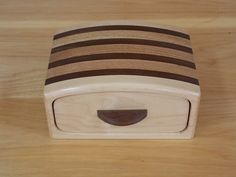 Bandsaw Keepsake Box made from Curly Maple, Walnut and Oak Inlay 1 Drawer Jewelry, Ring, Bracelet and Trinket Box by JandCWorkshop on Etsy