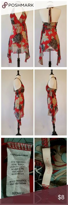 Forever 21 Red, Tan, and Brown halter dress This dress ties at the back of the neck, and also has a decorative sash tie on the left under bust. The dress is sheer with asymmetrical sides. Forever 21 Dresses Midi