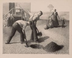 Grant Wood (American Tree Planting Group Lithograph Signed lower right in pencil and dated titled lower left and with dedicatory inscription 'To Damie and Fitz Fitzgerald' lower center inches x inches x cm) Trees To Plant, Tree Planting, Artist Grants, Rockwell Kent, Grant Wood, American Gothic, Cleveland Museum Of Art, Wood Tree, American Artists