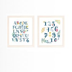 Set of 2 Floral Alphabet Numbers Flowers Nature Whimsical Nursery Baby Girl Kid's Room Eco Navy Blue Boho Decor by CheekyAlbi, $23.00