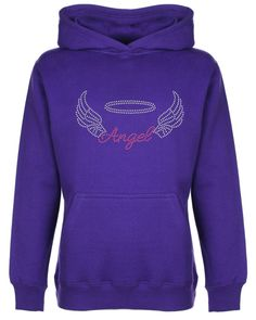 Angel with Wings Rhinestone/Diamante Embellished Hoodie 3 to 13 years Gift #FDMorequivalent