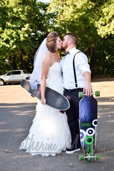 Bride and Groom with longboards, such a fun couple!  Wedding photography Katherine M. Photography