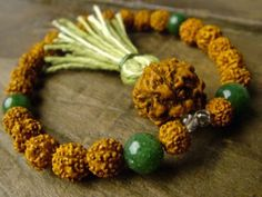 Rudraksha and Jade Mala – Japa Mala Beads Meaningful Jewelry, Prayer Beads, Jade, Jewelry Making, Beaded Bracelets, Jewels, Color, Fun, Style