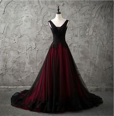 Details about New Red/Black Gothic Wedding Dress A Line Pageant Dresses Prom Evening Ball Gown Neu-Rot-Schwarz-Gothic-Hochzeitskleid-A-Line-Festzug-Kleider-Prom-Abend-Ballkleid Colored Wedding Gowns, Chic Wedding Dresses, Wedding Dresses Plus Size, Quinceanera Dresses, Prom Dresses, Dress Prom, Bridesmaid Gowns, Long Dresses, Beauty Pageant Dresses