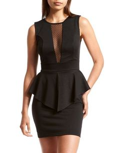 Mesh Inset Ponte Peplum Dress: Charlotte Russe