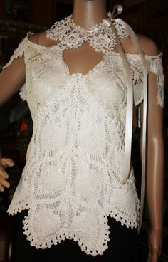 SaleDoily blouse with off the shoulder cap sleeves by VinnieMae, $60.00