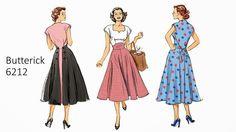 Retro Butterick 6212 50s 60s Vintage Walkaway Dress Sewing Pattern B6212