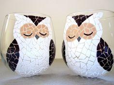 Owl Wine Glasses Hand Painted Mosaic Glassware by MeKu on Etsy, $56.00