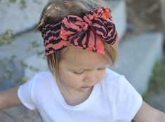 Coral and Black Modern Geometric Print Vintage Style Headwrap - Infant to Adult - Knot, Bow, Turban, Headscarf - Wear in Front, Back, Side!