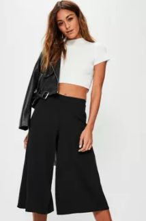 get this season nailed with your wardrobe essentials. culottes are the hottest staple piece. in black, these versatile trousers will ensure your at the top of the style game.