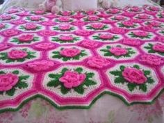 HANDMADE 3D ROSES FLOWER CROCHET AFGHAN THROW PINK BUDS SHABBY CHIC by harriet