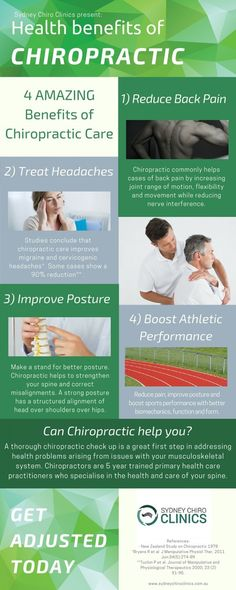 Sydney Chiro - Infographic: Health Benefits of Chiropractic Care Benefits Of Chiropractic Care, Chiropractic Quotes, Massage Benefits, Health Benefits, Family Chiropractic, Fitness Infographic, Health Infographics, Chiropractic Adjustment, Alternative Treatments