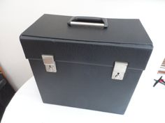 "Original circa 1970/80 12"" 33 rpm Vinyl Album Record Storage Box. Black with Handle x2 working clasps no Keys. Very Good Condition by VintageFoggy on Etsy"