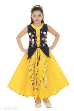 Frocks & Dresses Comfy Girls Dresses  Fabric:  SatinRayon& Net Sleeves :Sleeves Are Not Included Size:Age Group (1 - 2 Years) - 20 in Age Group (2 - 3 Years) - 22 in Age Group (3 - 4 Years) - 24 in Age Group (4 - 5 Years) - 26 in Age Group (5 - 6 Years) - 28 in Age Group (6 - 7 Years) - 30 in Type: Stitched Description: It Has 1 Piece Of Kid's Girl