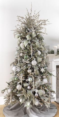 RAZ 2016 Silver Sage Christmas Tree  To see more items from this RAZ collection available for purchase online at Trendy Tree, just click here. We're still in the process of adding items that will start arriving Summer 2016.  http://www.trendytree.com/raz-christmas-and-halloween-decor/2016-santas-workshop-1.html