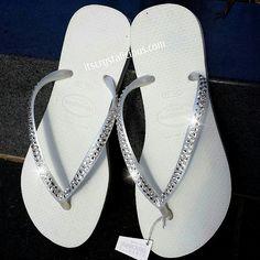 67704ebbfd5dc White Havaianas Covered In SWAROVSKI Crystal by ItsCrystalicious Wedding  Stationary
