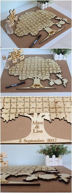 20 Rustic Wedding Guest Book Ideas This rustic puzzle piece alternative wedding guestbook is gorgeous! I love this idea! The post 20 Rustic Wedding Guest Book Ideas appeared first on DIY Shares. Wedding Tips, Diy Wedding, Wedding Planning, Dream Wedding, Wedding Day, Wedding Book, Puzzle Wedding, Wedding Reception, Trendy Wedding