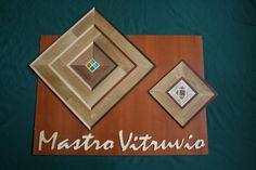 """Inserti per Parquet esempio con 4 Vetri colorati e con Pietre Naturali, Travertino Romano e Rosso Verona. Effetto """"profondità"""""""
