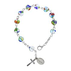 popular and colorful murano heart rosary beads.