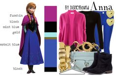 ~ Anna Frozen DisneyBound Outfit ~ Love how it has the color guide!