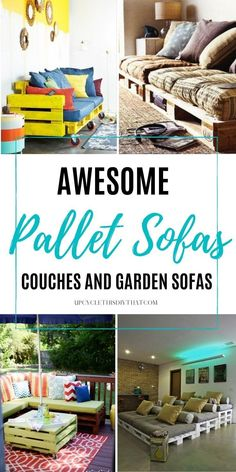 If you're looking for a quick and easy way to upcycle an old pallet or two, then building yourself a pallet sofa might be the perfect solution. Palet sofas and couches are a great way to get your creative juices flowing with some DIYs. Pallet sofas are sturdy and can easily be built by anyone. They're excellent examples of pallet furniture ideas that can transform any indoor or outdoor area. Click through for more details! Diy Furniture Redo, Wood Pallet Furniture, Diy Outdoor Furniture, Diy Furniture Projects, Patio Ideas, Outdoor Ideas, Backyard Ideas, Pallet Sofa, Garden Sofa