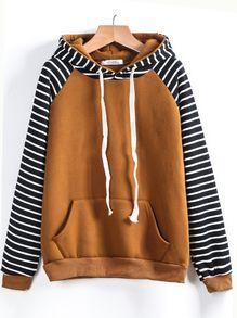 Contrast Raglan Sleeve Hooded Striped Sweatshirt