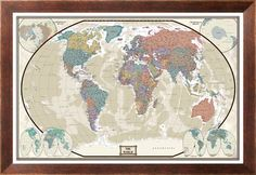 World Executive Wall Map Poster Mural 24x36 Framed >>> Find out more about the great product at the image link.Note:It is affiliate link to Amazon.