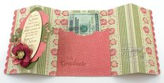 a pocket on the inside to hold a little bit of cash.  This could easily be modified to hold a gift card instead.