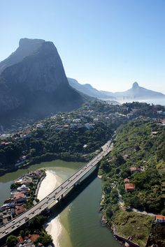 Rio de Janeiro, Brazil View of the Canal, Pedra da Gávea Mountain, and Twin Brothers at the back Places Around The World, Travel Around The World, Around The Worlds, Places To Travel, Places To See, Travel Destinations, Wonderful Places, Beautiful Places, Amazing Places