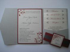 Pocket Fold Wedding Invitation - Silver Metallic Red and White - Flourish Design - Sample (KATHERINE)