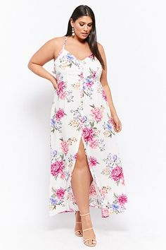 Forever 21 Plus Size Floral Button-Front Maxi Dress Plus Size Romper, Plus Size Jumpsuit, Plus Size Maxi Dresses, Plus Size Outfits, Wrap Dresses, Summer Dresses, Curvy Girl Fashion, Plus Size Fashion, Fashion 101
