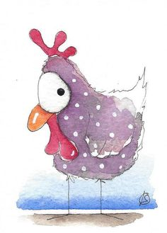 ACEO Original watercolor painting whimsical bird purple chicken (2) #IllustrationArt