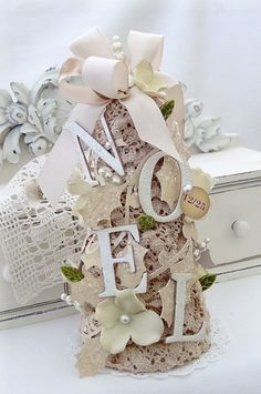 ~ Stunning NOEL Tree ~ A Doilie, Wood Letters, Glittered Paper Leaves & Vines, Pearls on Wire, Silk Hydrangia w/ Beads & Ribbon....