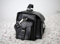 Black leather camera bag by Grafea www.grafea.co.uk
