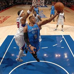 Russell Westbrook uses his body to get a clear layup. You can also do this great action pose using your Fantasy Basketball players. Play fantasy sports online today at Fantasyfactor.com Daily draft line ups for free or for money at Ultimate Fantasy Sports Draft