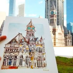 I sketched Old City Hall @cityofto from City Hall's Podium Green Roof with #TorontoUrbanSketchers this afternoon. Old City Hall was built from 1889 to 1899. The building was home to Toronto city council before moving to the current Toronto City Hall in 1965. Architectural style : Romanesque Revival (Richardsonian Romanesque). 15/30 #oldcityhalltoronto #heritagetoronto #heritagebuildings2016 #nationalhistoricsiteofcanada #toronto #urbansketchers #torontoartist #worldwatercolormonth #archesart