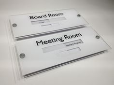 Boardroom Sign and Meeting Room Sliding Door Sign 'Vacant' one way, and 'Meeting In Progress' Spruce up your Office Doors with these Stunning Modern Slider Signs http://www.de-signage.com/office_signs_for_doors.php