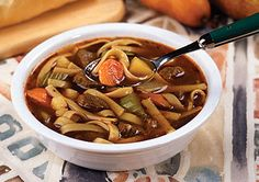Beef Noodle Soup - I make this with the thick frozen Reames egg noodles for a really hearty soup. ~~ Houston Foodlovers Book Club