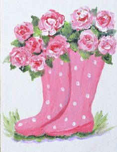 Pink Polka Dot Boot with Pink Roses - canvas painting Wine And Canvas, Spring Painting, Garden Painting, Paris Painting, Paint And Sip, Paint Party, Pictures To Paint, Flower Art, Easy Flower Painting