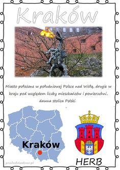 POLSKIE MIASTA – plansze zestaw 1 – Przedszkolankowo Herb, Activities For Kids, Education, Movie Posters, Geography, Historia, Polish, Grass, Film Poster