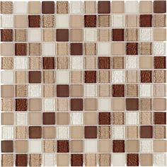 Warm Mocha Glass Mosaic Square Indoor/Outdoor Wall Tile (Common: 12-in x 12-in; Actual: 11.75-in x 11.75-in)