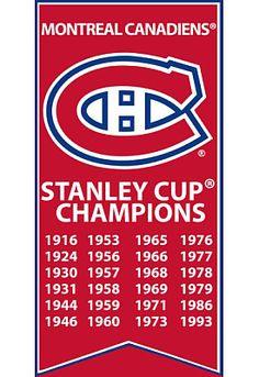 Frameworth Montreal Canadiens Logo Stanley Cup 14x28 Canvas Banner - Shop.Canada.NHL.com