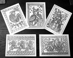Items similar to Set of 5 Color Yourself Mandalas Madhubani Indian Folk Art Painting Flat Coloring Cards Birds Drawing Contemporary on Etsy Group Art Projects, Cool Art Projects, Madhubani Art, Madhubani Painting, Mural Painting, Fabric Painting, Kalamkari Painting, Indian Folk Art, Indian Art Paintings