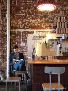 Seven Seeds and Market Lane Coffee, Melbourne Cafe Shop, Cafe Bar, Cafe Restaurant, My Coffee Shop, Coffee Cafe, Coffee Shops, Cafe Design, Interior Design, Brick Interior