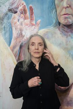Joan Semmel in front of her Skin Patterns, 2013. Photo by Elfie Semontan. Semmel (born Oct. 19, 1932, New York City) is an American feminist painter, professor, and writer. She is best known for painting large-scale, realistic nudes of her own body as seen from her perspective looking down.