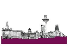 liverpool skyline - Google Search Liverpool England, Liverpool Home, Liverpool Skyline, Liverpool Tattoo, City Drawing, Skyline Silhouette, City Art, Ink Painting, S Pic